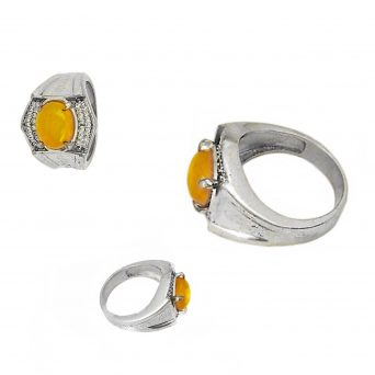 """Delicate Bali """"Art-Deco"""" style Agate Mustika Amulet Ring for Stress Reduction and Inner peace"""