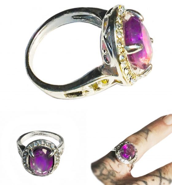 Amethyst Amulet Ring, eradicating negative thoughts, for a clear mind