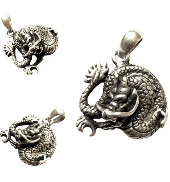 Silver Naga Dragon Pendant for Excessive Wealth through Business and Gambling
