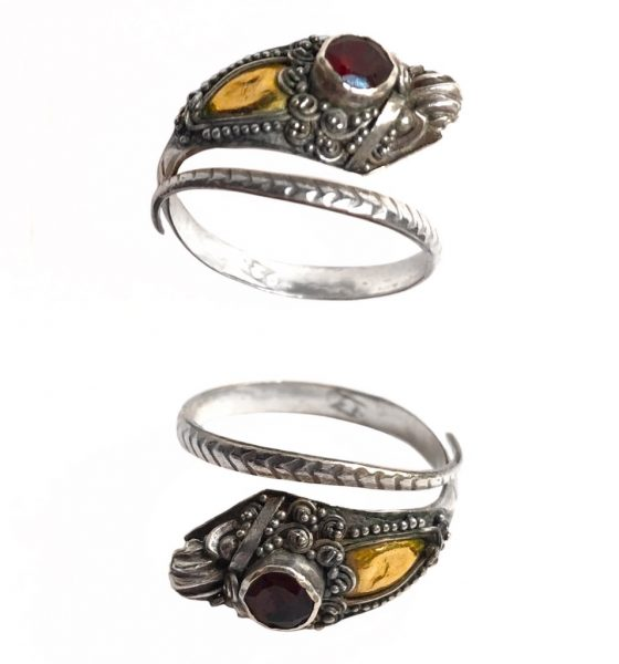Balinese Silver Naga Snake Ring with Gold-Plated Hood and Red Ruby Crown