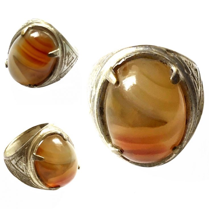 Indonesian Agate Talisman Ring