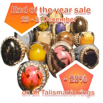 With our upcoming End of the year's sale, we want to thank you for your support and invite you to continuously be amazed by all the magic and the mysteries, in this world and beyond. From Monday 23-12 till 31-12, a discount of 25% is applicable on all Talismanic Rings
