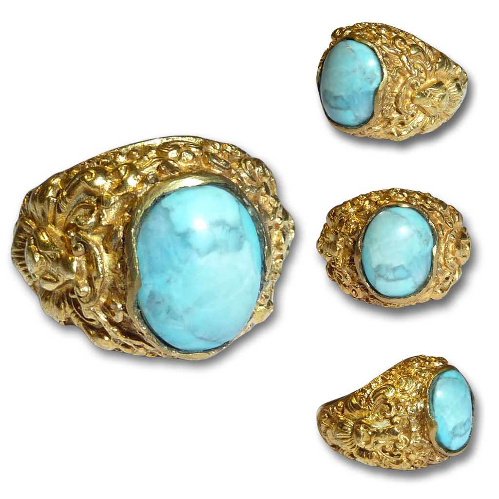 Exotic Caribbean Larimar Gemstone in Blue Volcanic Color set in Balinese Gold-plated Silver Ring