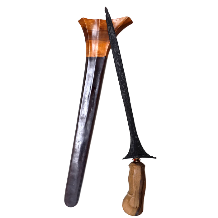 Ancient Balinese Keris featuring Straight-bladed Dapur Sepang with Pamor Ngulit Semangka