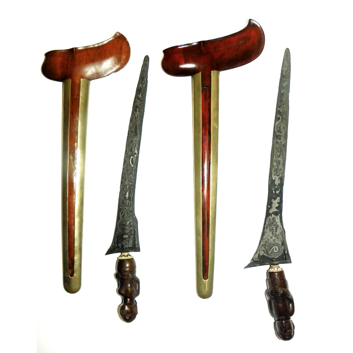 Pair of Ancient Keris Kaki Nini Kebo Lajer from the Tangguh Pajajaran Era (12th Century CE)