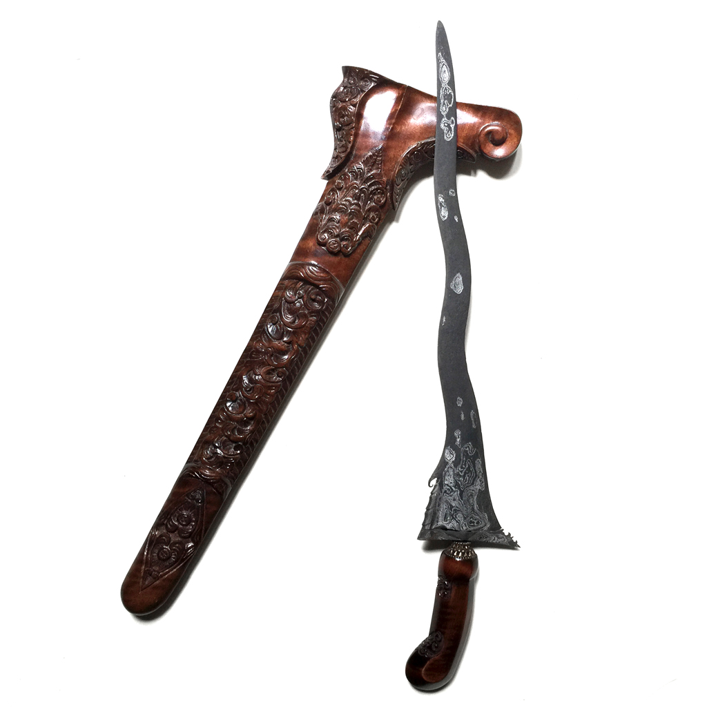 Keris Kebo Teki Luk 5 with Pamor Wos Wutah made in the Tangguh Tuban Era (14th Century CE)