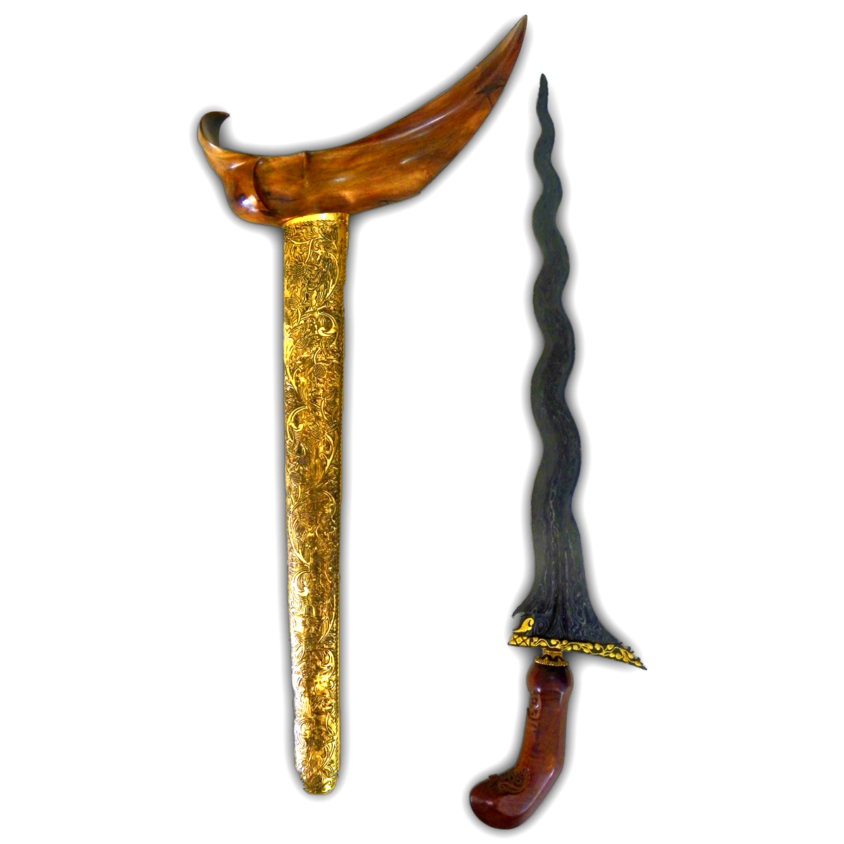 Keris Sengkelat Mataram Sultan Agung‏ with Gold-plated Kinatah, Ancient Brass Sheath, and Teak-wooden Hilt