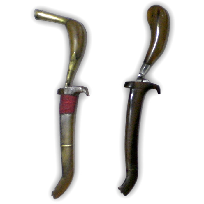 Traditional Family Pusaka Heirloom Set of 2 Rencong Daggers from Aceh
