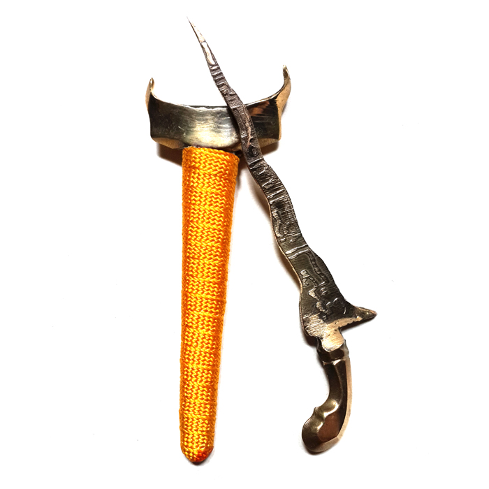 Talismanic Keris Dagger with Sacred Brazen Sheath wrapped in Yellow Magical Thread for Effective Social Interaction