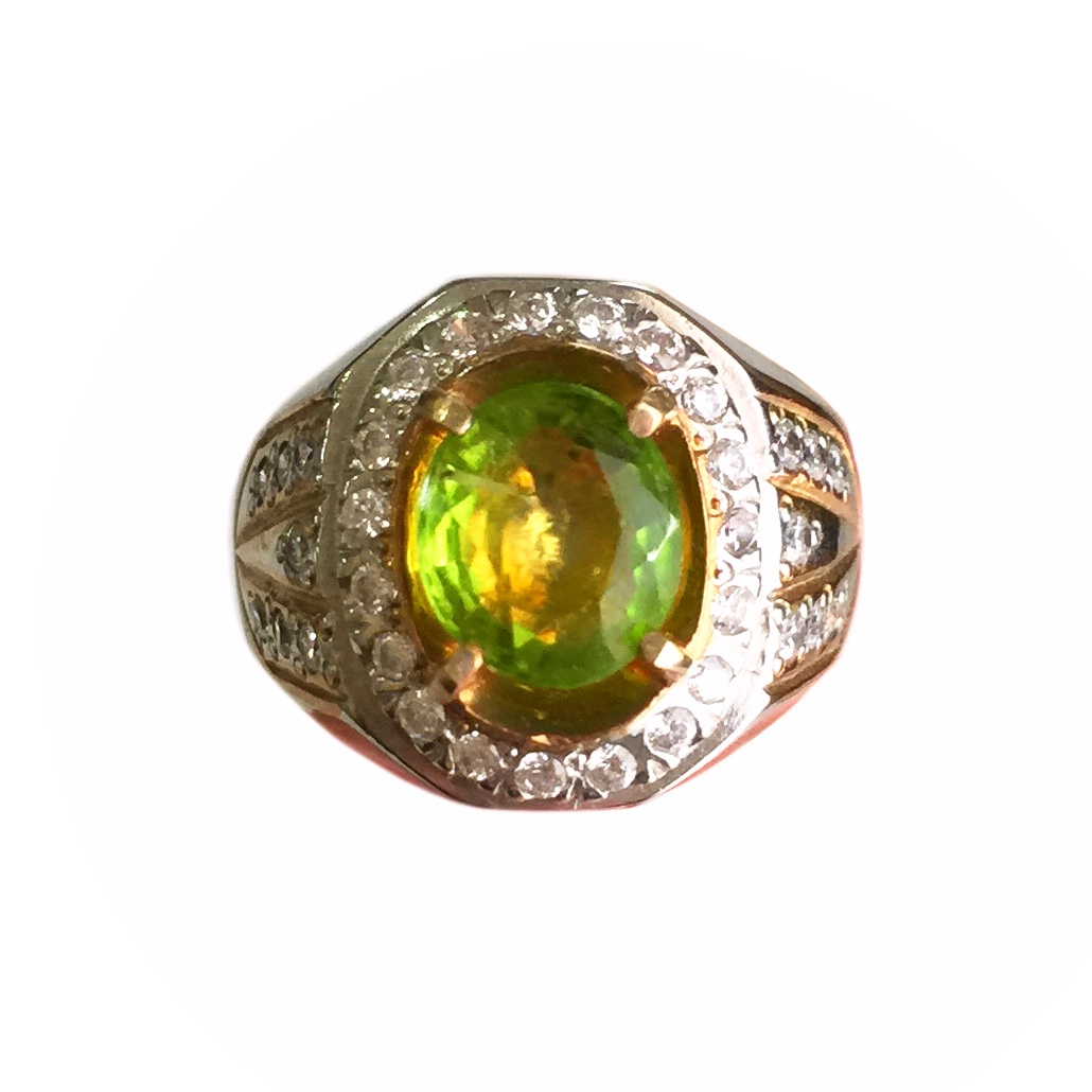 Natural Peridot Gemstone expertly faceted into a Silver Ring inlaid with 34 Zircon Stones