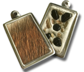 Deerskin Locket inlaid with Rough Obsidian Gemstones