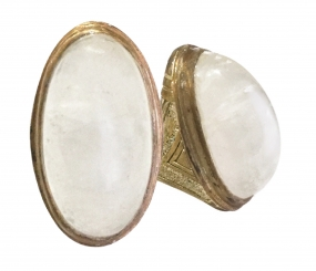 Antique Amulet Ring with Large White Chalcedony Stone for the Occultic Practice of Divination