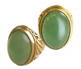Aventurine Gemstone Amulet in Classic Indonesian Brass Ring to bolster Confidence