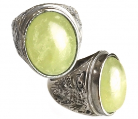 Mighty Naga Dragon Ring with Fluorescent Green Fluorite Stone for Prosperity and Renewed Energy
